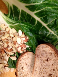 Chard:almonds:whole grain