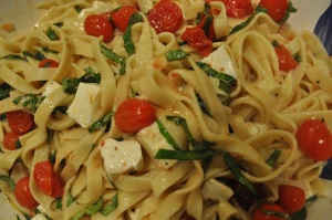 Homemade fettucine with tom:bas:mozz